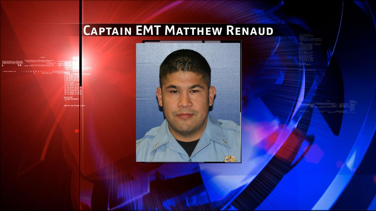 Captain EMT Matthew Renaud (35) of Station 51. He began his career with the Houston Fire Department in October of 2001. The Houston Fire Department says he gave the ultimate sacrifice at a fire in southwest Houston on Friday, May 31, 2013.