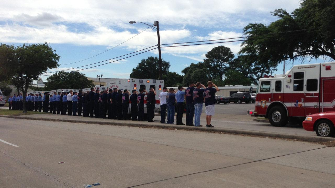 Firefighters formed a Wall of Honor as their fallen comrades were taken in a processional to Houston-area funeral homesMiya Shay
