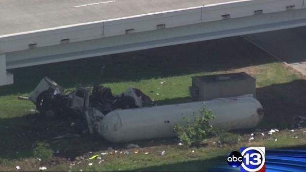 Tanker truck falls from overpass in La Porte