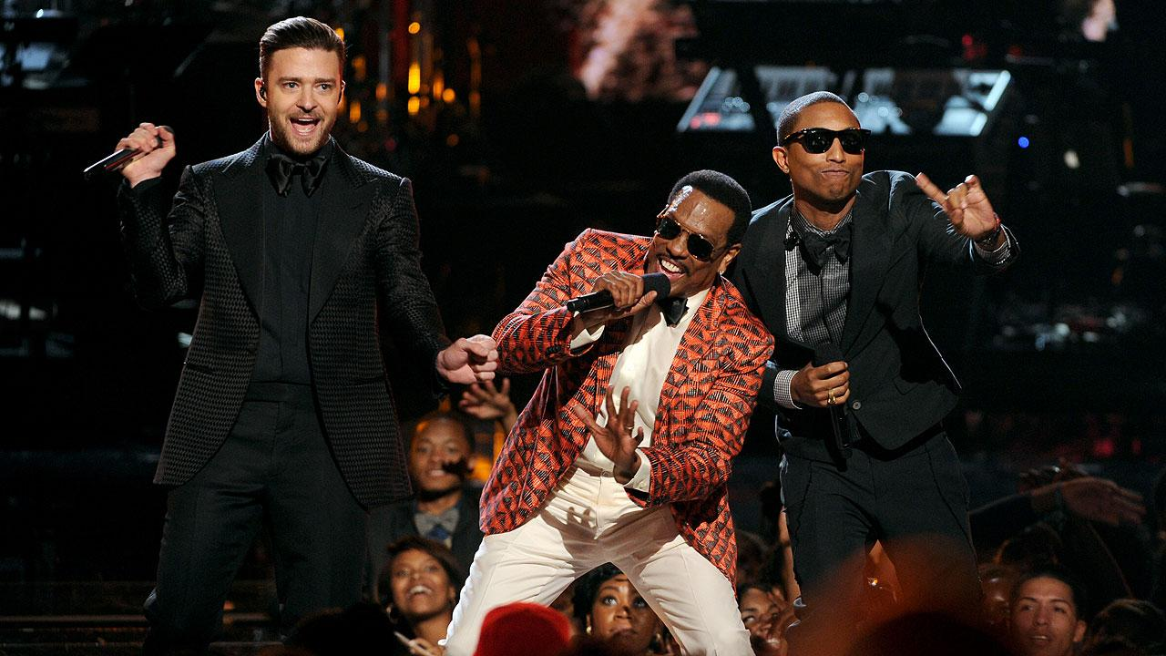 From left, Justin Timberlake, Charlie Wilson and Pharrell Williams perform onstage at the BET Awards at the Nokia Theatre on Sunday, June 30, 2013, in Los Angeles. (Photo by Frank Micelotta/Invision/AP)