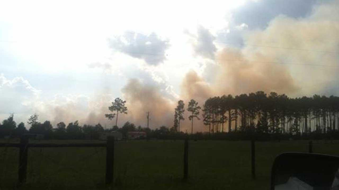 A viewer sent this photo in of the fire burning in Liberty County.  If you see news happening, email a photo or video to news@abc13.com