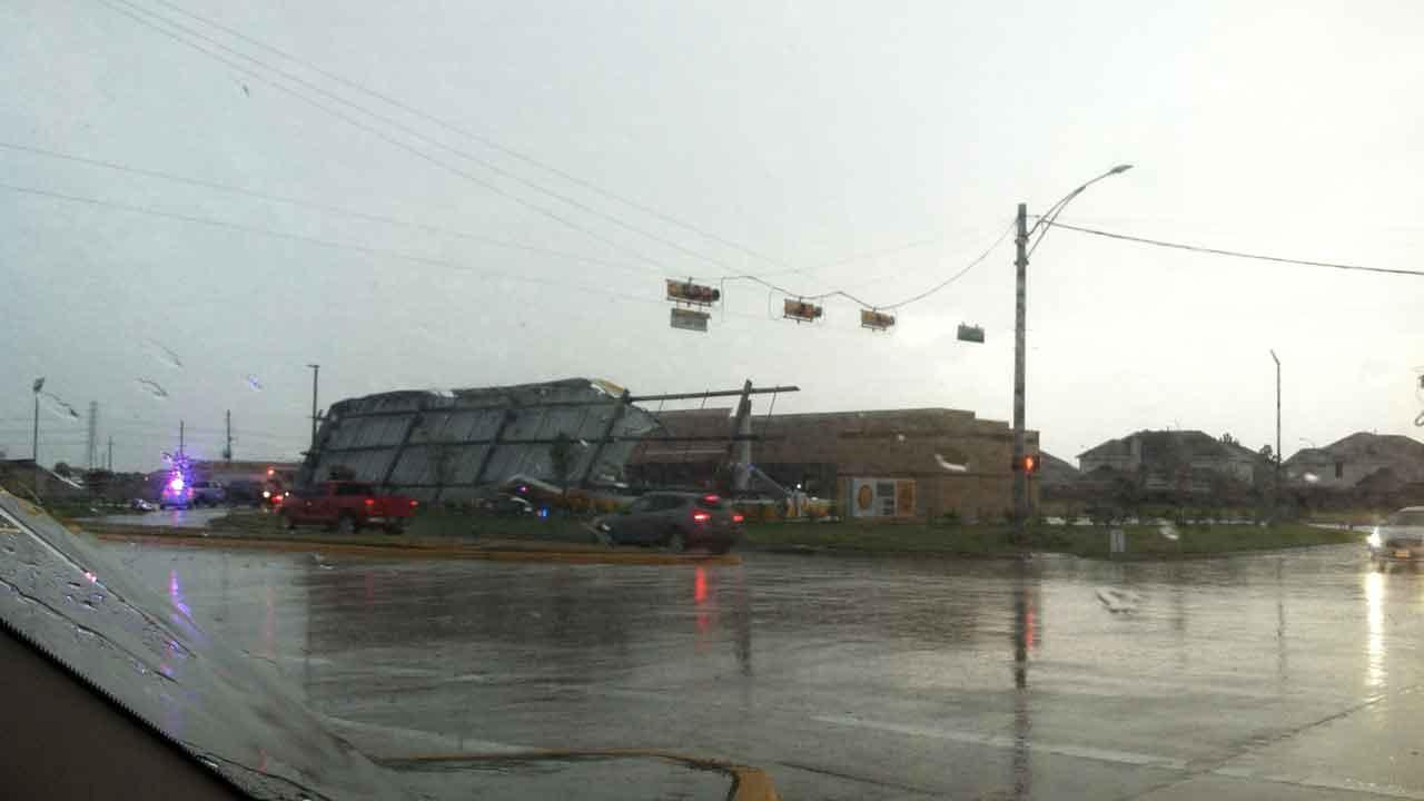 In Cypress on Queenston and Tuckerton, a gas station roof collapsed due to the weather and crushed cars that were parked beneath it. This photo was submitted by an ABC13 viewer. Send your weather photos and photos to news@abc13.com. <span class=meta>(iWitness Reports)</span>