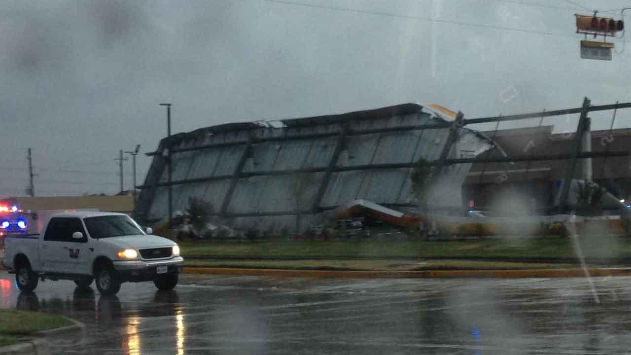 In Cypress on Queenston and Tuckerton, a gas station roof collapsed due to the weather and crushed cars that were parked beneath it. This photo was submitted by an ABC13 viewer. Send your weather photos and photos to news@abc13.com.