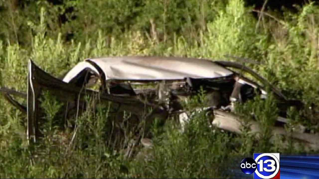 Two people died when this car crashed in Spring. A third person was able to crawl out to safety