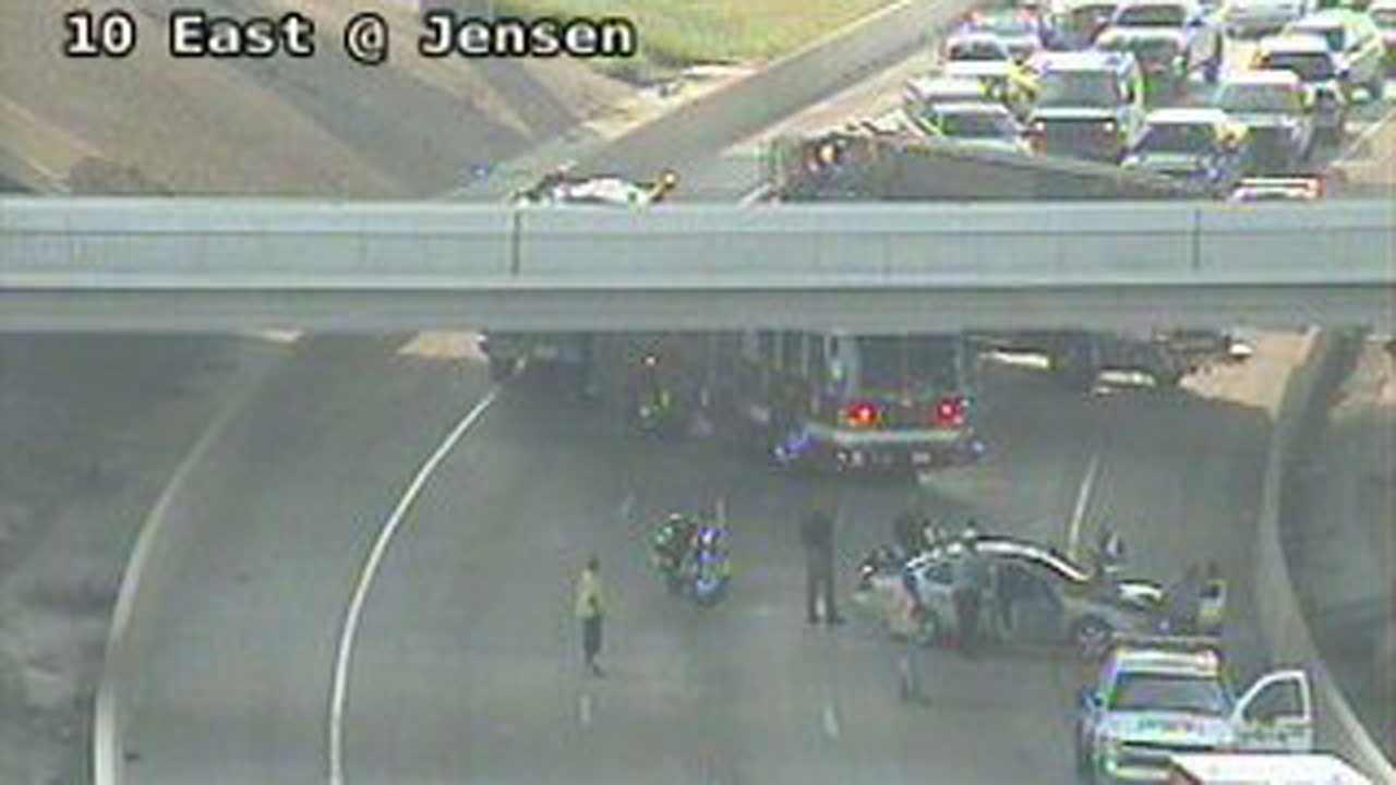 All westbound lanes were shut down on I-10 at Jensen for a while, causing a major backup this morning.