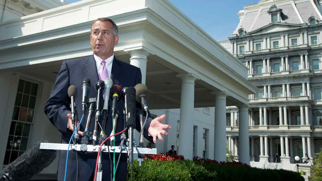House Speaker John Boehner of Ohio speaks to reporters outside the White House in Washington, Tuesday, Sept. 3, 2013, following a meeting between President Barack Obama and Congressional leaders to discuss the situation in Syria. Boehner said he will support President Barack Obamas call for the U.S. to take action against Syria for alleged chemical weapons use and says his Republican colleagues should support the president, too. (AP Photo/Manuel Balce Ceneta)