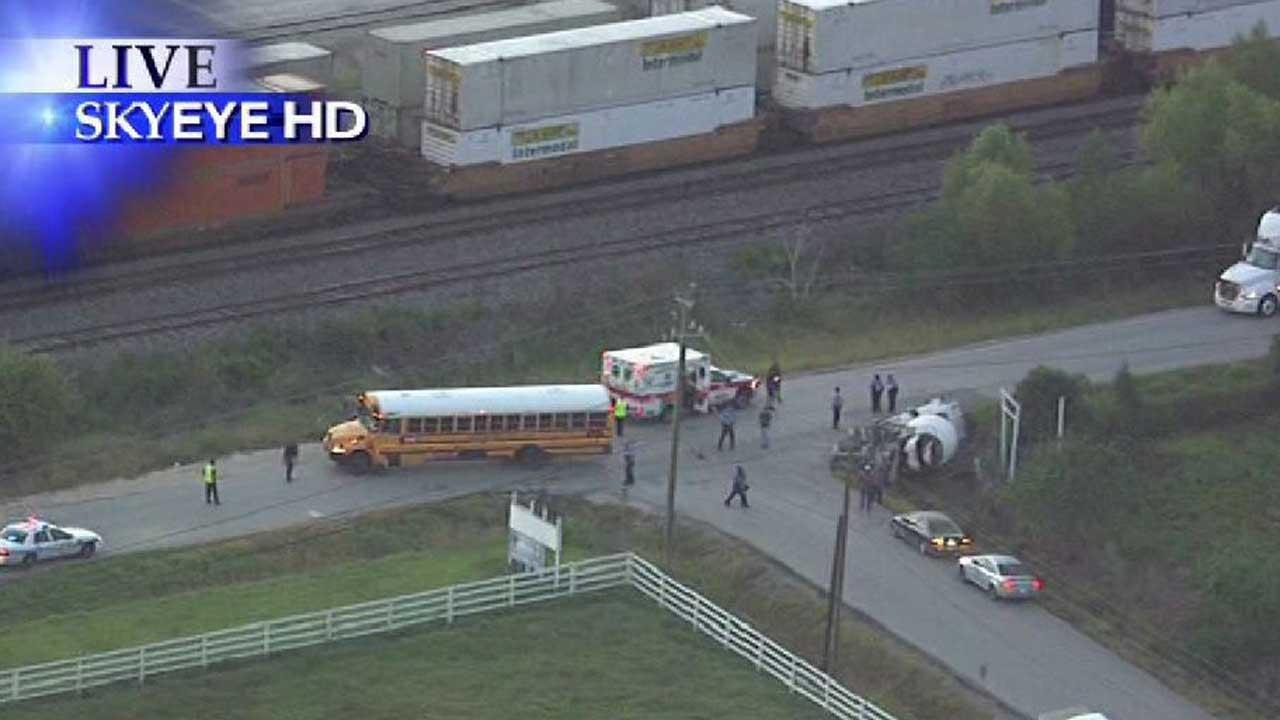 A cement truck driver was injured in an accident involving a school bus in southeast Houston.