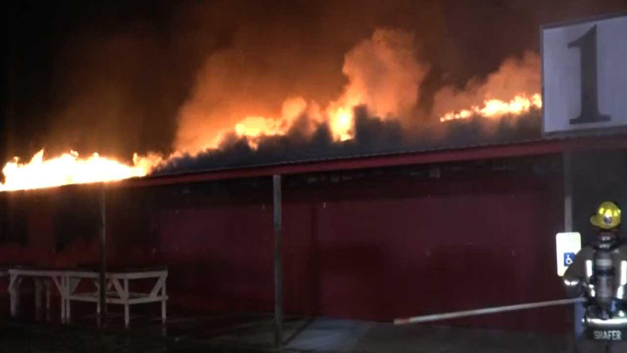 A massive fire has destroyed a popular Liberty County flea market early this morning.