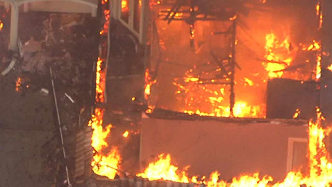 A 10,000-square foot home was destroyed in a multi-alarm fire this morning.