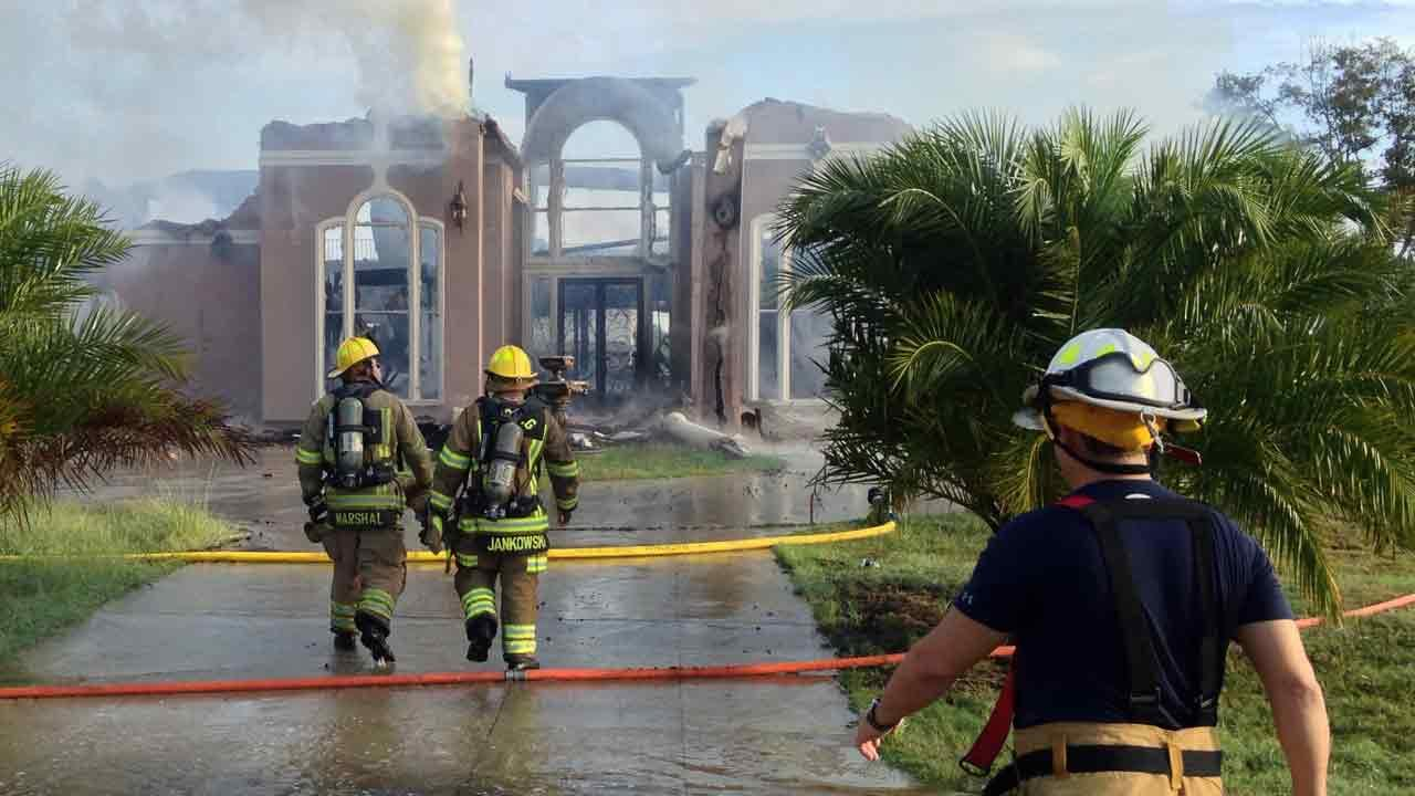 A 10,000-square foot home was destroyed in a multi-alarm fire this morning.ABC13/John Mizwa