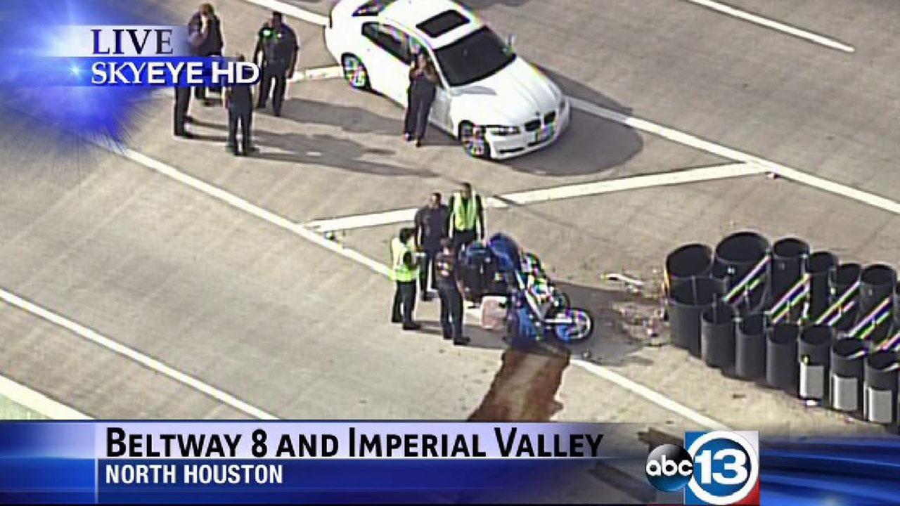 SkyEye13 HD over the scene of a motorcycle crash