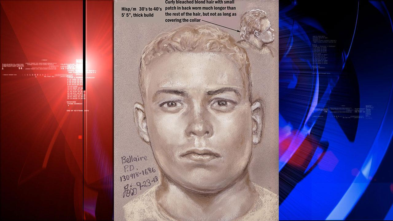 Bellaire police released a sketch of the man who posed as a delivery man.  Hes described as Hispanic, in his 30s to 40s, standing 55 with a thick build, and bleached blond curly hair.