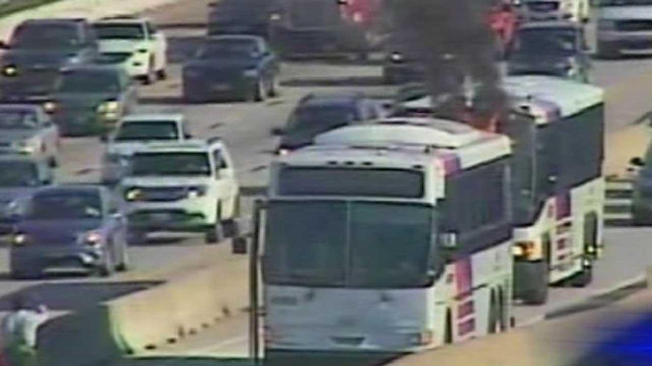 I-45 northbound METRO bus fire