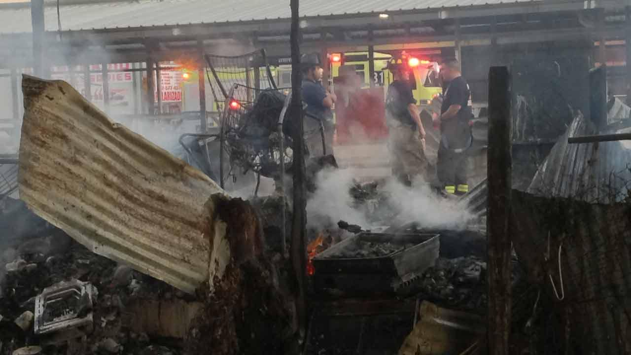 A two-alarm fie broke out at a flea market on Airline Drive early this morning.