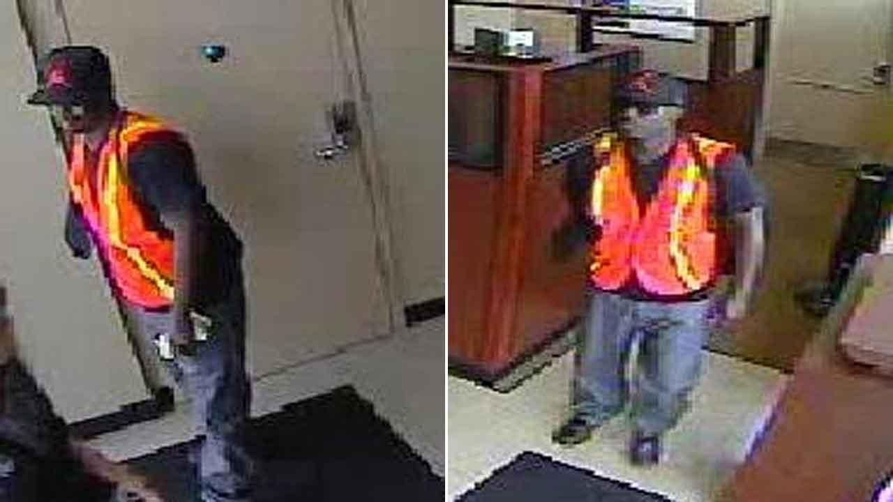 Two surveillance images of a suspect who robbed a Chase Bank at 3002 Kirby Drive in Houston on Saturday, October 5, 2013