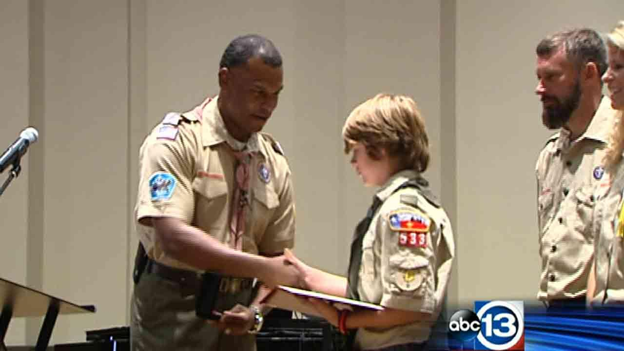 Sammy Armstrong of Cypress was honored Sunday, October 6, 2013, for saving a girl who fell into the water at a park in Austin
