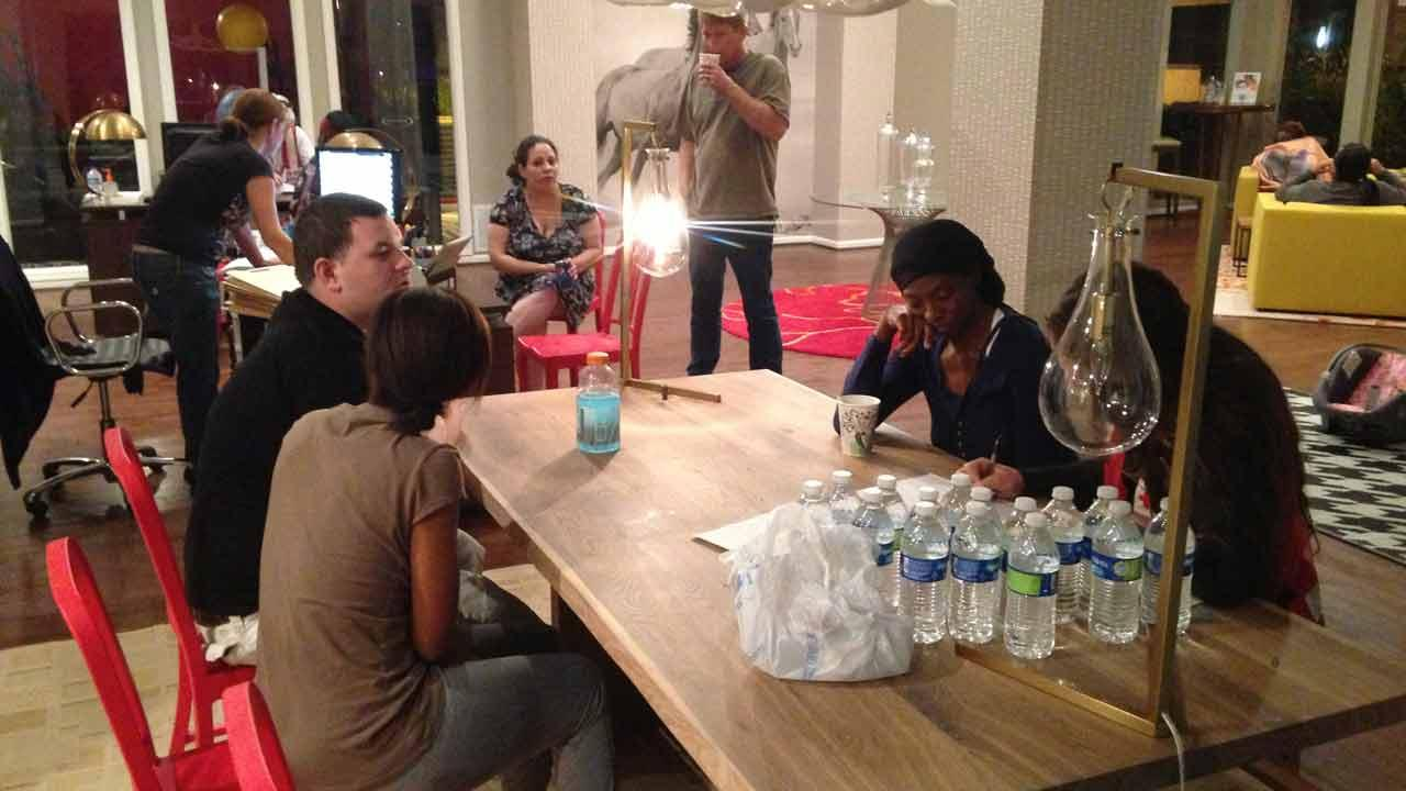 Some displaced residents were in the apartment complex office getting assistance. <span class=meta>(ABC13&#47;John Mizwa)</span>