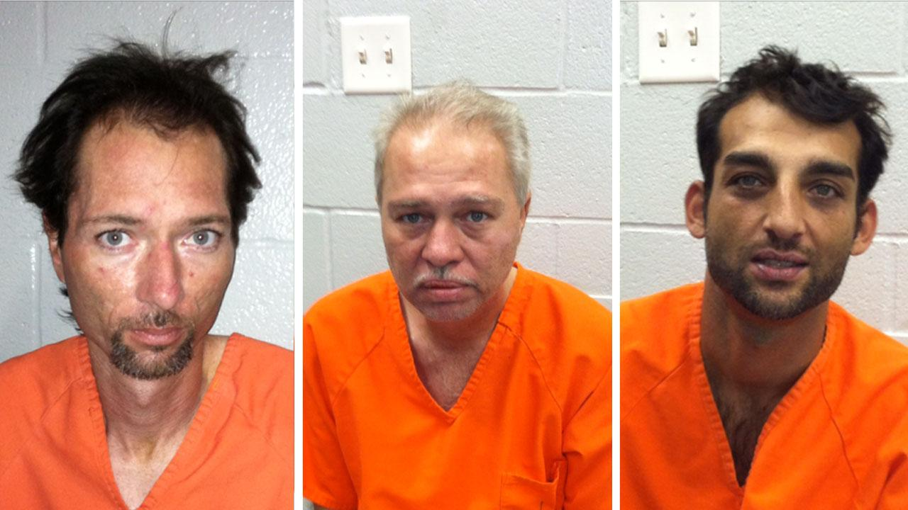 From left: George Peres, 33, 46-year-old Tony Peres and a third unidentified man were arrested in Tomball after they allegedly tried to rob an elderly woman of jewelry by pretending to be utility workers. Police need help identifying the last suspect. Anyone with information regarding his name is asked to contact them.