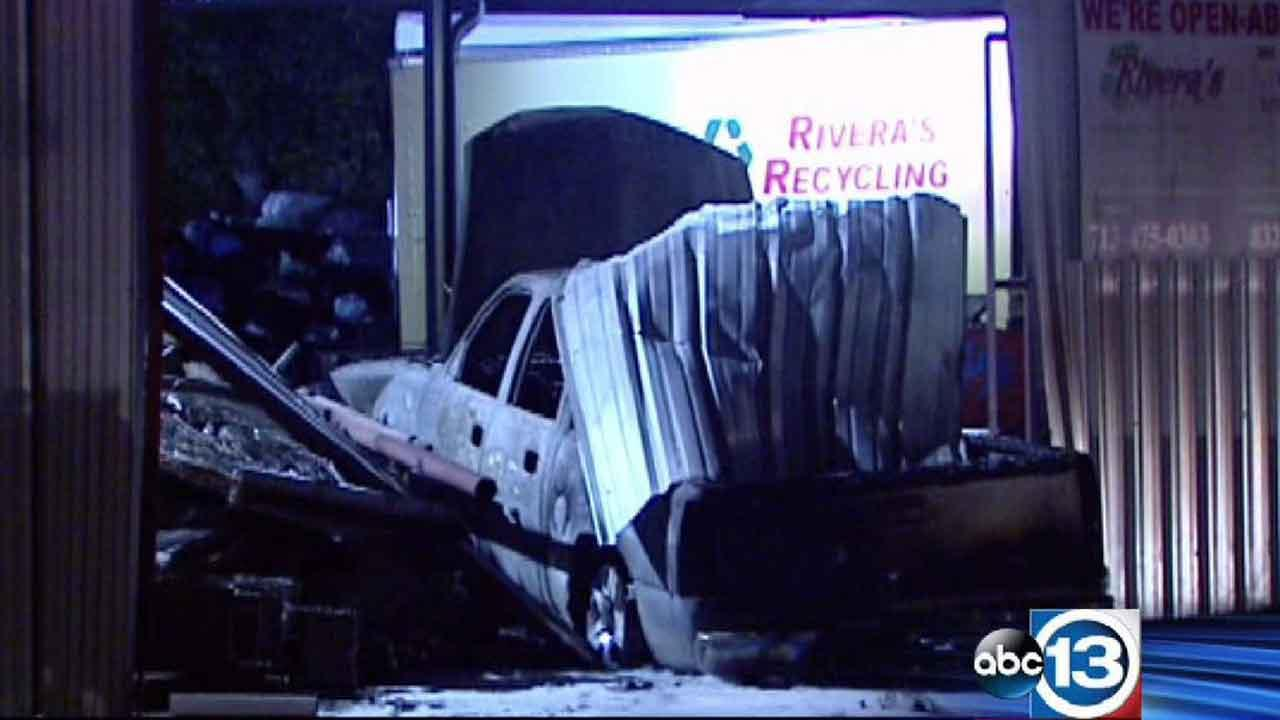 Investigators said the driver of this pickup died after being trapped in the vehicle while it burned at a Pasadena recycling center