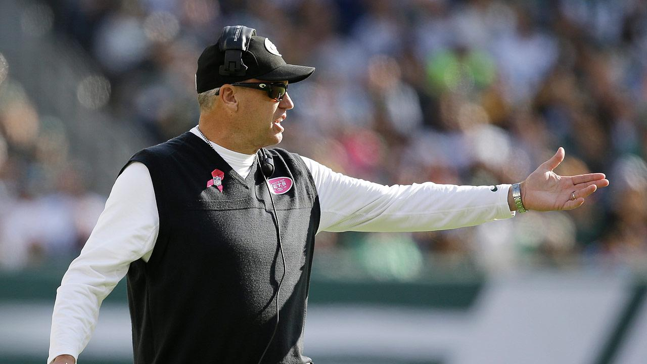 New York Jets head coach Rex Ryan reacts to a call during the second half of an NFL football game against the Pittsburgh Steelers Sunday, Oct. 13, 2013, in East Rutherford, N.J. (AP Photo/Seth Wenig)