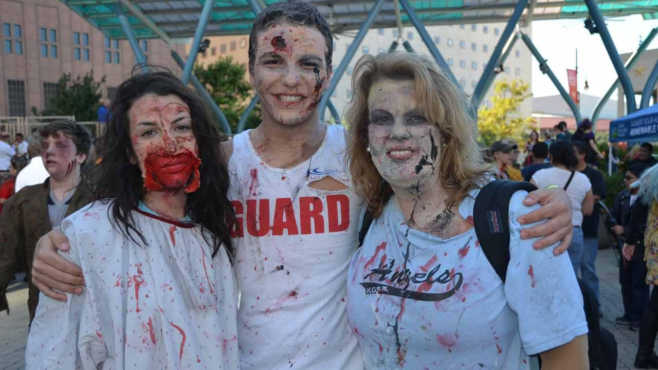 Downtown Houston was invaded by zombies this weekend.  It was all part of a fundraising effort by the Houston Zombie Walk to benefit Houston Childrens Charity, the Houston Humane Society and the Dove Key Ranch Wildlife Center <span class=meta>(Blanca Beltran)</span>