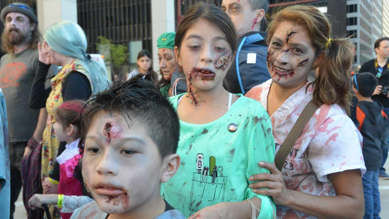 Downtown Houston was invaded by zombies this weekend.  It was all part of a fundraising effort by the Houston Zombie Walk to benefit the Houston Childrens Charity, the Houston Humane Society and the Dove Key Ranch Wildlife Center. <span class=meta>(Blanca Beltran)</span>