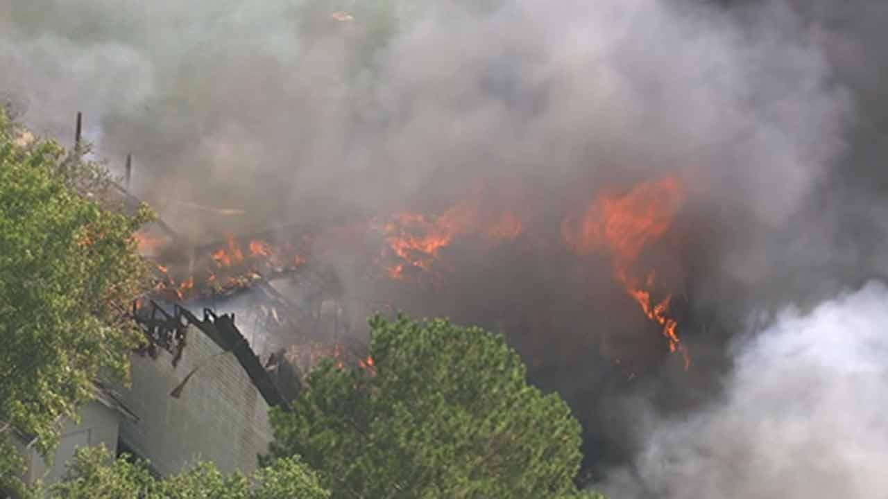 Firefighters are battling a huge fire at a church in Alvin