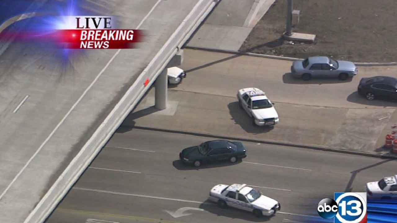 A man who led police on a 30-minute chase is now in custody after he gave up at a SW Houston gas station
