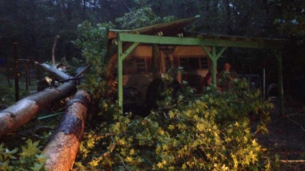 A couple of trees fell on top of a trailer home in northeast Harris CountyABC13/Crystal Kobza
