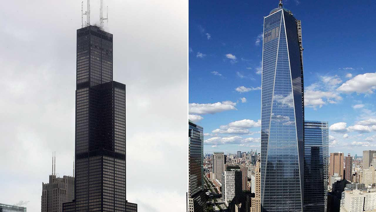 This combination made from file photos shows Willis Tower, formerly known as the Sears Tower, in Chicago on March 12, 2008, left, and One World Trade Center in New York on Sept. 5, 2013.