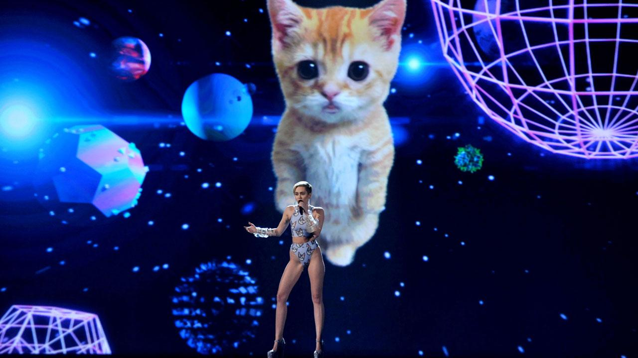 Wrecking ball cat, Miley CyrusAP photo