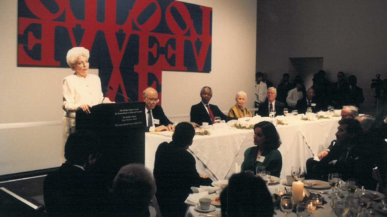 This is a photo from Nelson Mandelas visit to Houston in 1991.  He was here to receive an award from Dominique de Menil at the Rothko Chapel.      Ann Richards is speaking in this photo