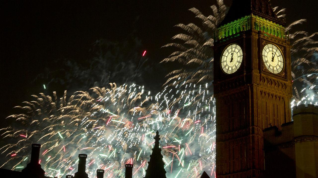 Fireworks explode over the Houses of Parliament