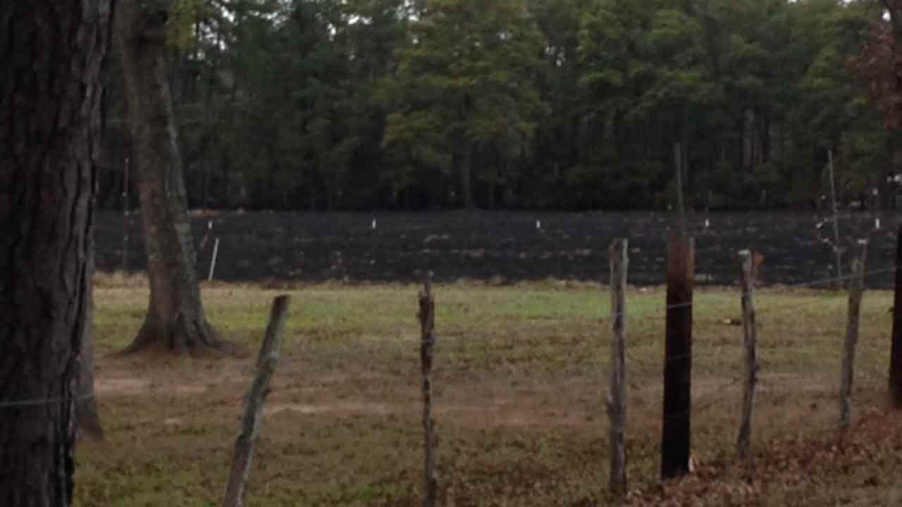 A grass fire burned this land in Waller County