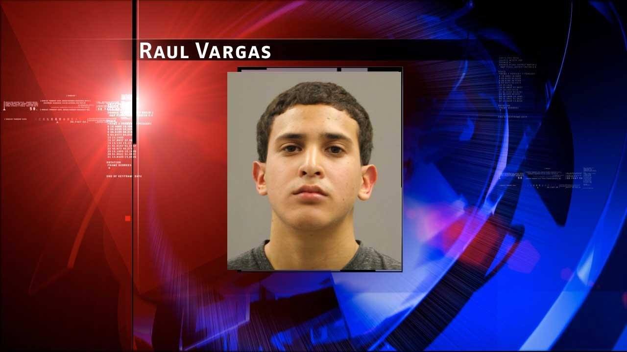 Raul Vargas is accused of stealing from his neighbors while armed with a shotgun