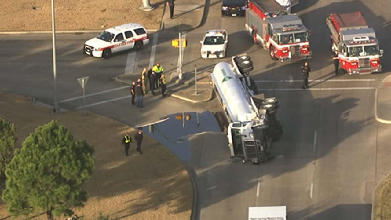 Overturned tanker truck accident
