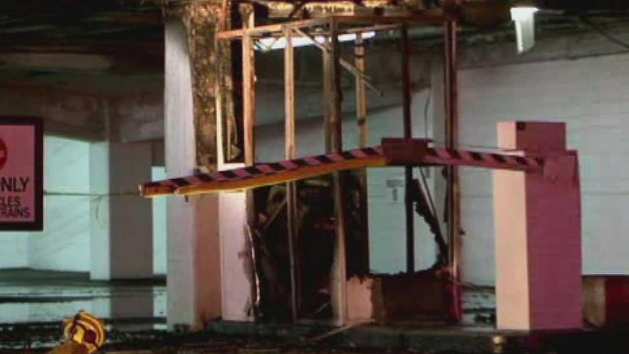 A parking attendant booth in a downtown Houston garage was destroyed in a two-alarm fire