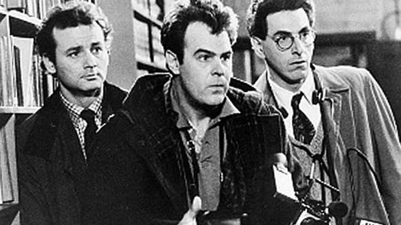 Shown in this scene from the 1984 movie Ghostbusters are Bill Murray, Dan Aykroyd, center, and Harold Ramis. (AP Photo)