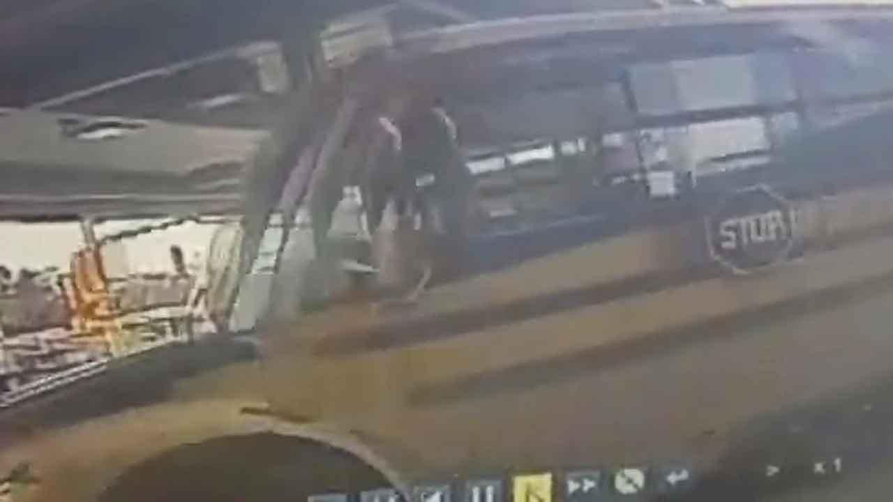Teen crashes stolen school bus at Minneapolis-area gas station