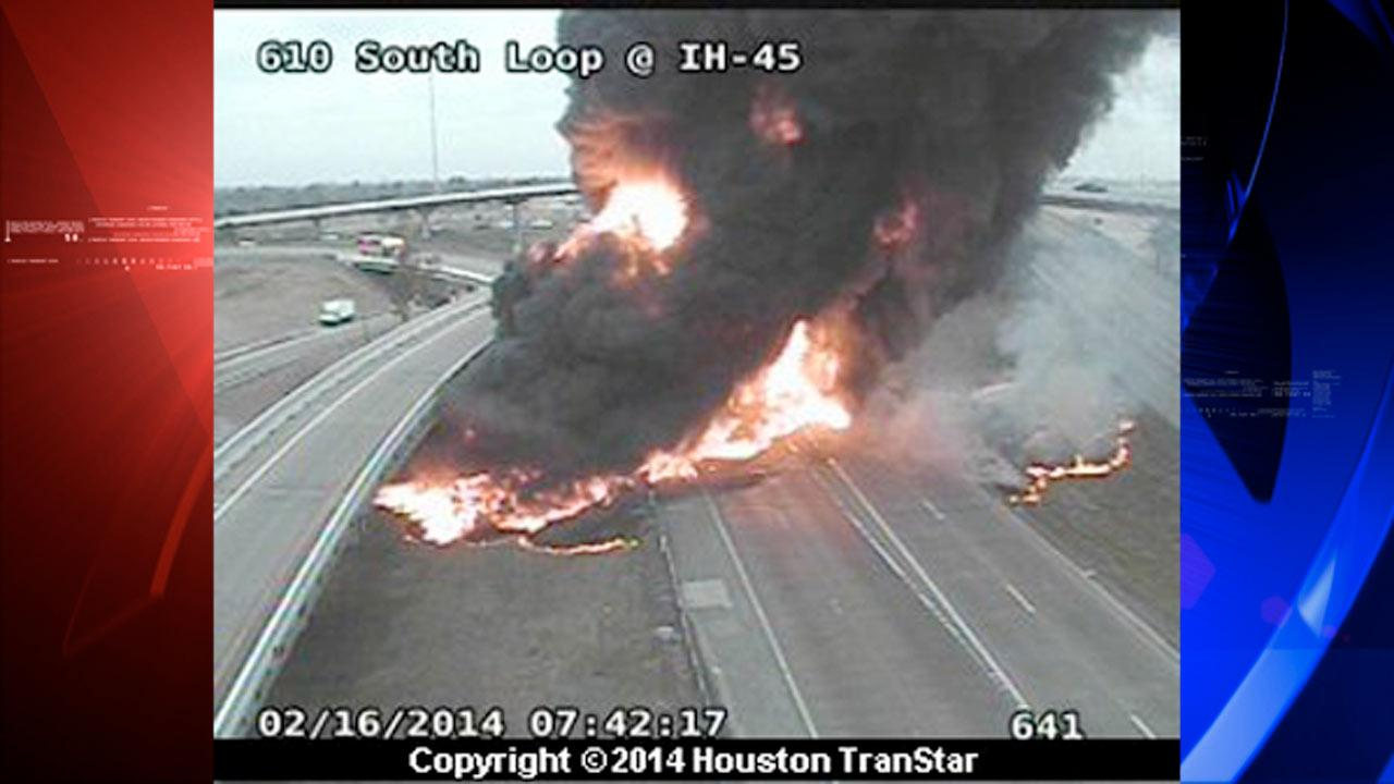 Fiery big rig accident