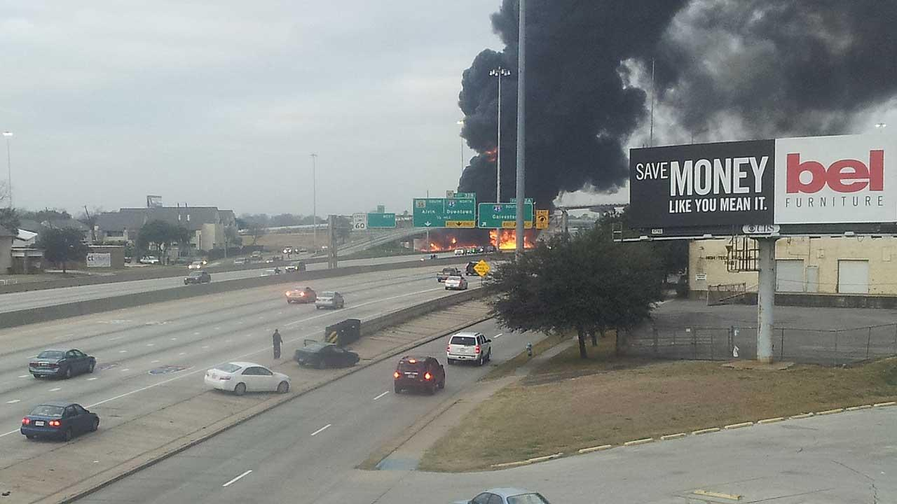 Fiery Gulf Freeway wreck