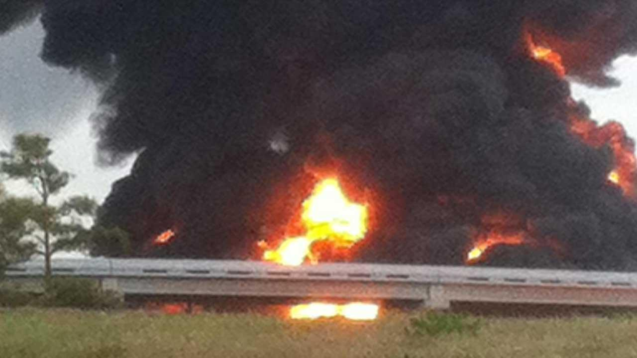 Fiery big rig wreck