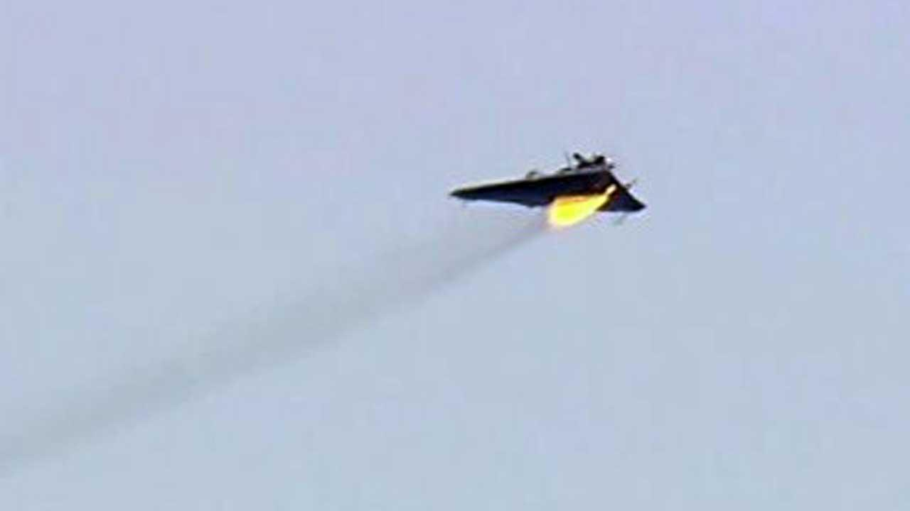 Remote-controlled target aircraft is hit by the Laser Weapon System (LaWS) during an exercise conducted by the U.S. Navy
