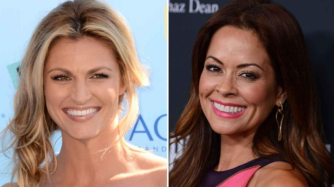 Brooke Burke Charvet, pictured right, is out on Dancing with the Stars. In her place will be Erin Andrews, pictured left,  formerly of ESPN. (AP photo)