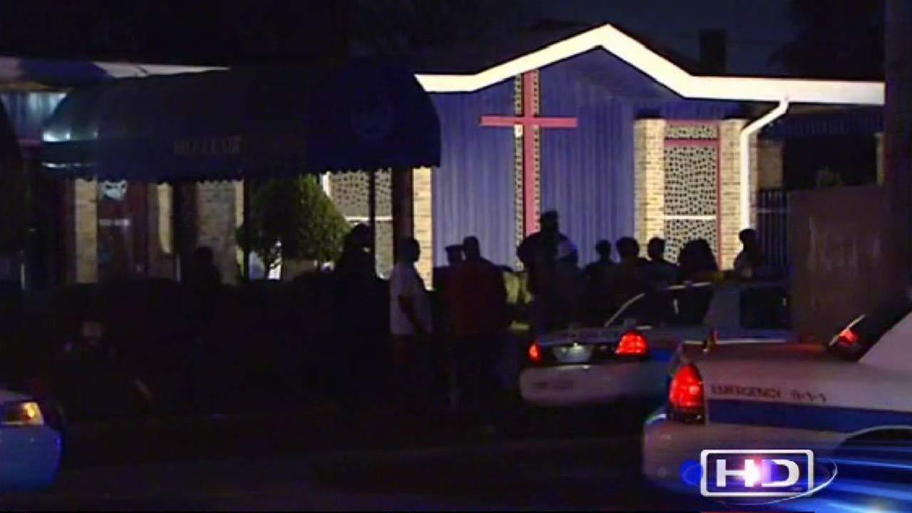 At least one person was taken into police custody after a brawl broke out at a funeral home Friday night.