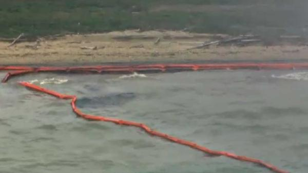 Raw SkyEye HD of oil spill in Ship Channel