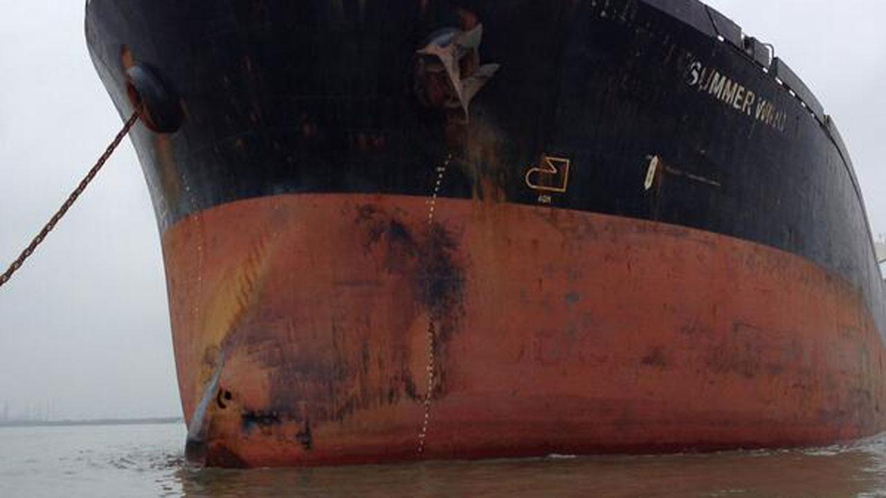 Hole in bow of Summer Wind, the grain ship that collided with an oil barge Saturday