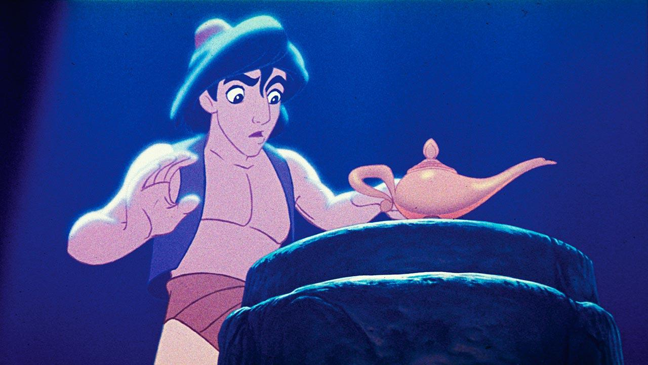 This undated publicity photo provided by Disney Theatrical Productions shows Aladdin with a lamp in a scene from the 1992 animated film, Aladdin.