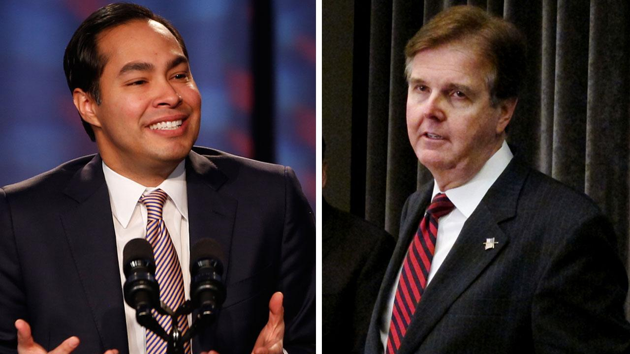 San Antonio Mayor Julian Castro, left, and Texas State Sen. Dan Patrick