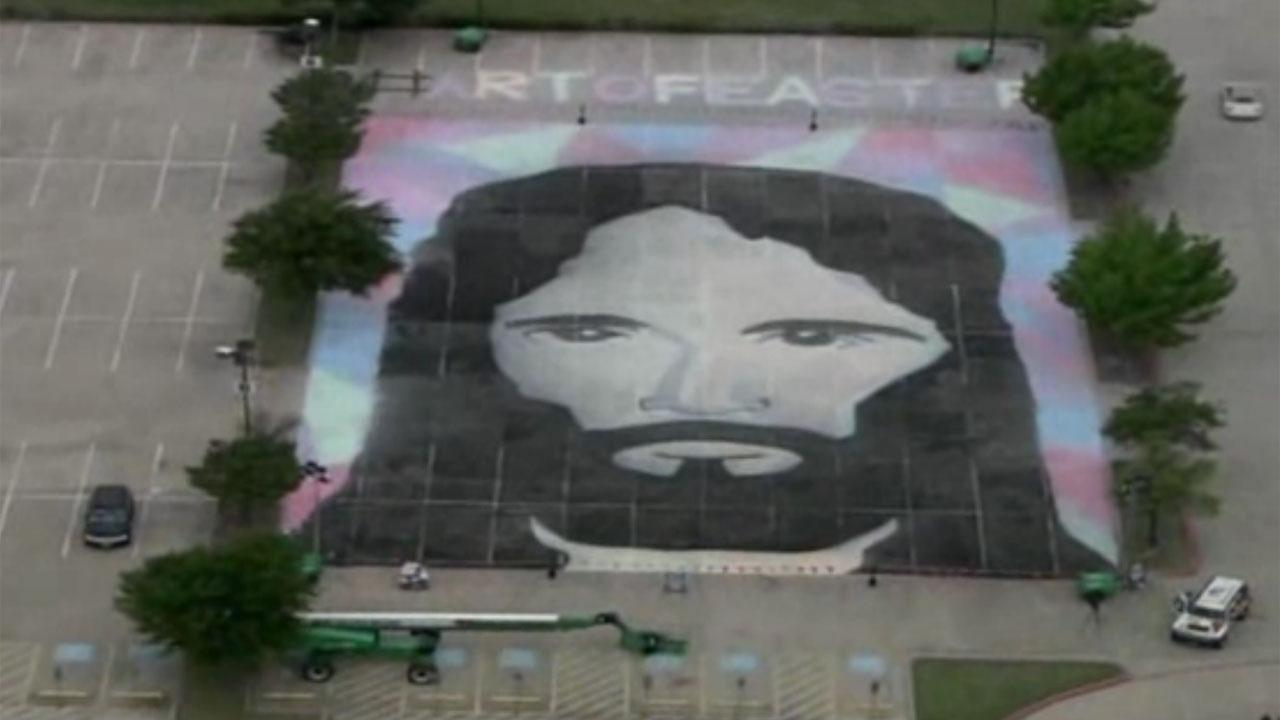 Jesus chalk drawing